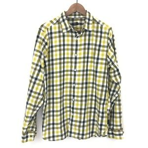 The North Face Plaid Yellow Green Button Down